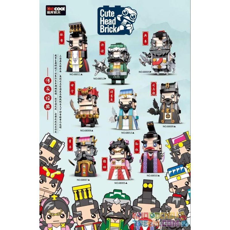 Decool 68005 68006 68007 68008 68009 68010 68011 68012 68013 Jisi 68005 68006 68007 68008 68009 68010 68011 68012 68013 Xếp hình kiểu Lego BRICKHEADZ Cute Head Brick Three Kingdoms 9 Caiwei, 貂 蝉, Dong
