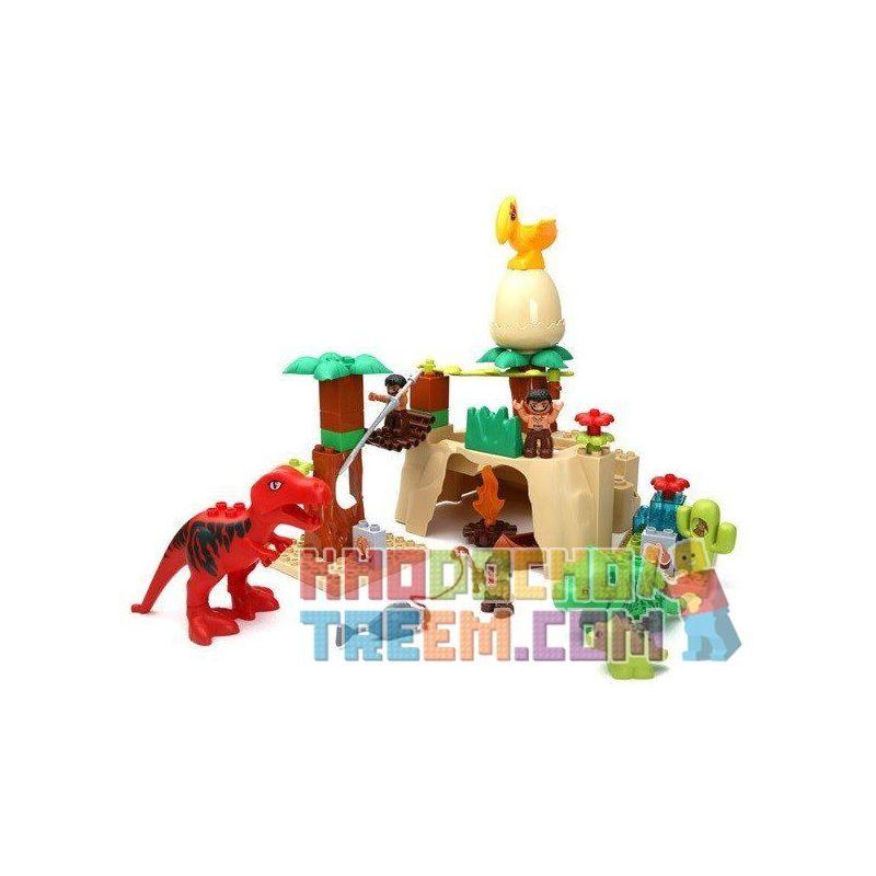 NOT Lego Duplo DUPLO 5598 Dino Valley, HYSTOYS HONGYUANSHENG AOLEDUOTOYS  HG-1269 1269 HG1269 Xếp hình thung lũng khủng long 52 khối