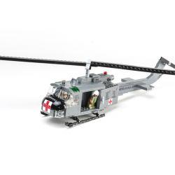 BRICKMANIA 1014_MEGA Xếp hình kiểu Lego MILITARY ARMY UH-1D Iroquois UH-1D Helicopter Trực Thăng UH-1D 378 khối