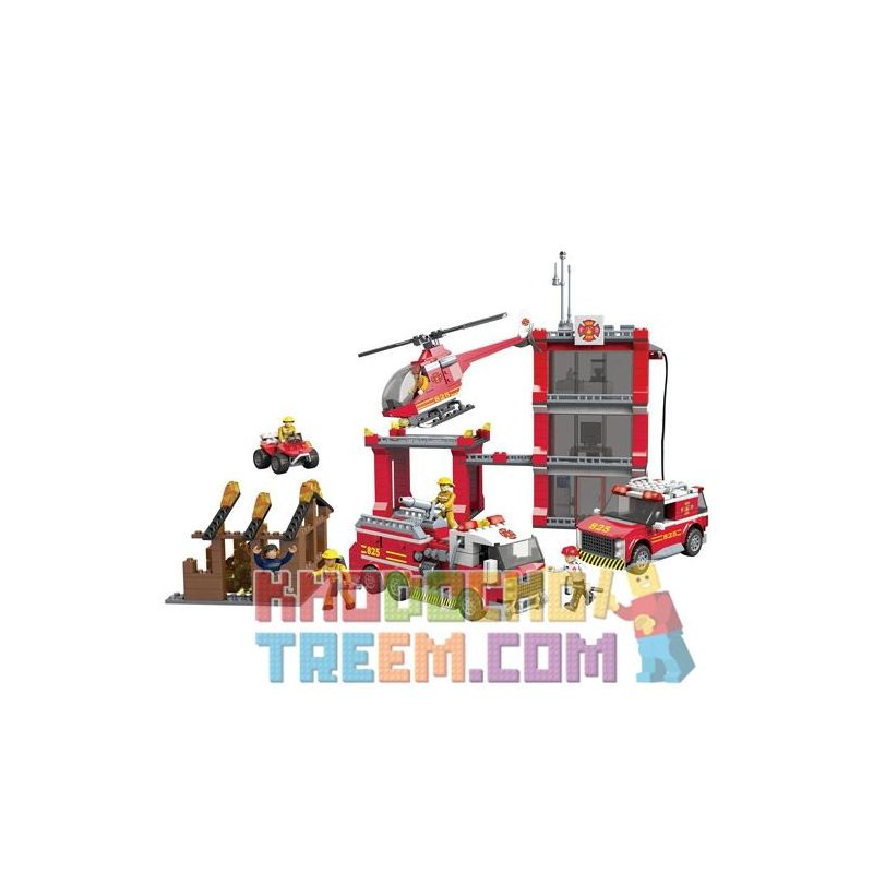MEGA BLOKS 94413 Xếp hình kiểu Lego CITY Fire Station Fire Department Sở Cứu Hỏa 841 khối