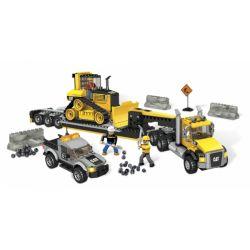 MEGA BLOKS 97800 97800 97829 Xếp hình kiểu Lego CITY Cat Heavy-Duty Transporter Cat Heavy-duty Transport Vehicle Phương Tiện Vận Tải Hạng Nặng CAT gồm 2 hộp nhỏ 778 khối