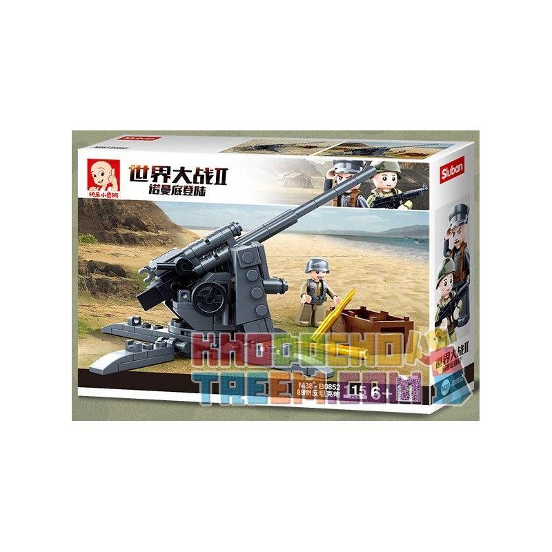 SLUBAN M38-B0852 B0852 0852 M38B0852 38-B0852 Xếp hình kiểu Lego MILITARY ARMY World War II Normandy Landing German 88mm Anti-tank Gun Súng Chống Tăng 88MM Của Đức 115 khối