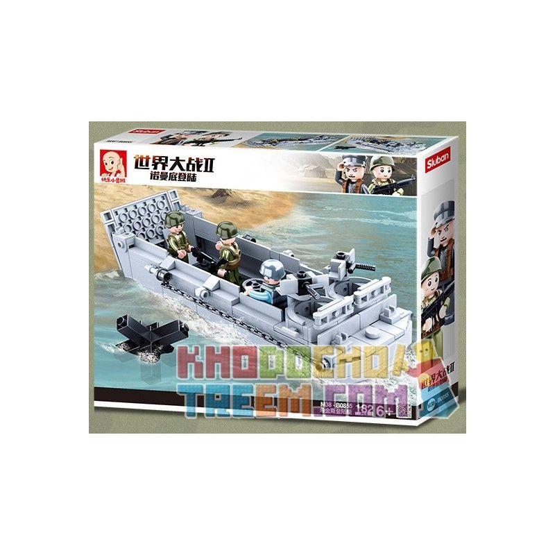 SLUBAN M38-B0855 B0855 0855 M38B0855 38-B0855 Xếp hình kiểu Lego MILITARY ARMY World War II Normandy Landing Hitinus Landing Boat Tàu đổ Bộ Higgins 182 khối