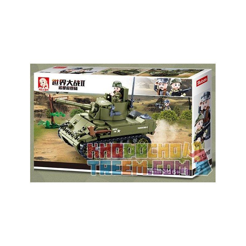 SLUBAN M38-B0856 B0856 0856 M38B0856 38-B0856 Xếp hình kiểu Lego MILITARY ARMY World War II Normandy Landing American M5 Stuyatt Tank Xe Tăng Hạng Nhẹ M5 Stuart Của Quân đội Hoa Kỳ 344 khối