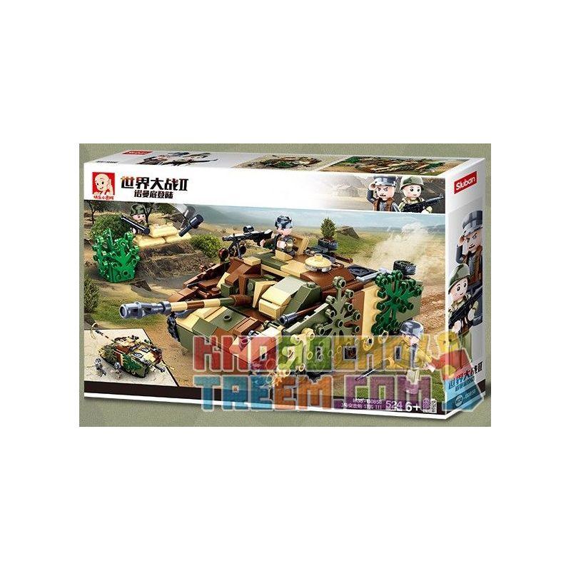 SLUBAN M38-B0858 B0858 0858 M38B0858 38-B0858 Xếp hình kiểu Lego MILITARY ARMY Sturmgeschütz III World War II Normandy Landing German No. 3 Farming Stug III Súng Tấn Công Của Đức STUG III 524 khối