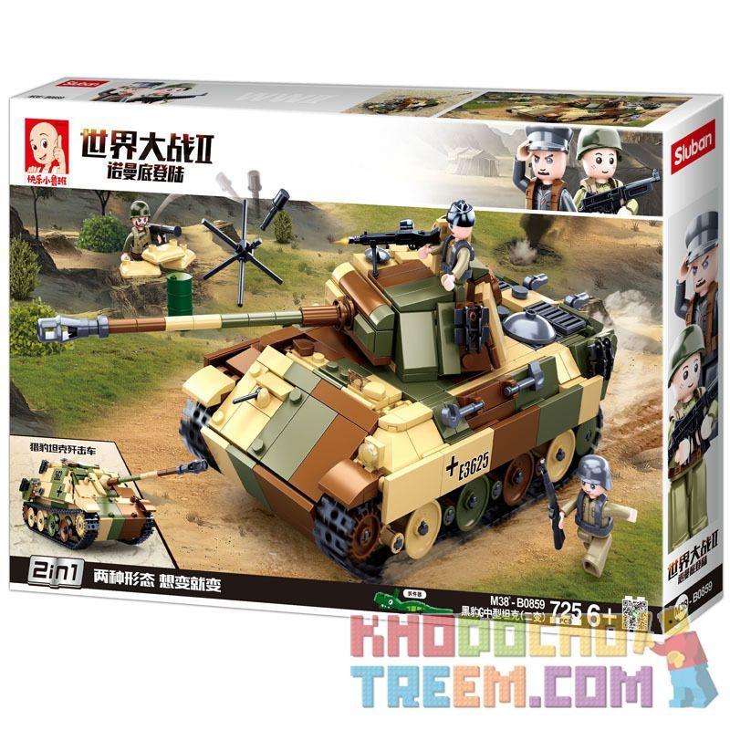 SLUBAN M38-B0859 B0859 0859 M38B0859 38-B0859 Xếp hình kiểu Lego MILITARY ARMY World War II Normandy Landing German Black Panther G Medium Tank (two) Tăng Hạng Trung Panther G Của Đức (hai Thay đổi) 7