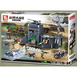 SLUBAN M38-B0861 B0861 0861 M38B0861 38-B0861 Xếp hình kiểu Lego MILITARY ARMY World War II Normandy Landing German Atlantic Fortress Pháo đài Đại Tây Dương Của Đức 765 khối