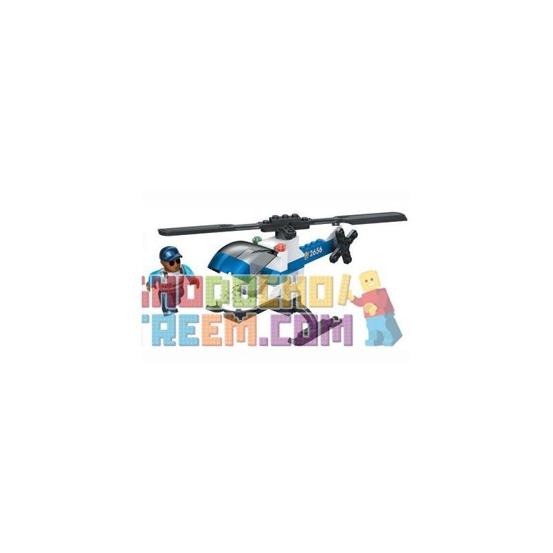 MEGA BLOKS 2413 2433 Xếp hình kiểu Lego CITY Police Force Chopper Police Helicopter Trực Thăng Cảnh Sát gồm 2 hộp nhỏ 71 khối