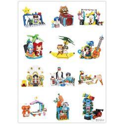 SHENZHEN RAEL ENTERTAINMENT 60002 Xếp hình kiểu Lego R1SE Blind Box 12 Hộp Mù R1SE 12 Kiểu