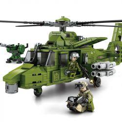 SEMBO 105591 Xếp hình kiểu Lego IRON BLOOD HEAVY EQUIPMENT Iron Plate Straight 9 Light Multi-purpose Helicopter Máy Bay Trực Thăng đa Năng 9 Hạng Nhẹ 481 khối