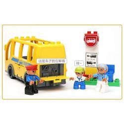 NOT LEGO Duplo 5636 Bus, Hystoys HongYuanSheng Aoleduotoys HG-1271 Xếp hình bến xe buýt 16 khối