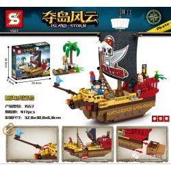 SHENG YUAN SY 1557 Xếp hình kiểu Lego PIRATES OF THE CARIBBEAN Island Storm Island Nautical Cá Mập Hổ Hải Lý 417 khối