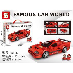 SHENG YUAN SY 5115 Xếp hình kiểu Lego RACERS Famous Car World Famous Car Ferrari F40 Ferrari F40. 318 khối