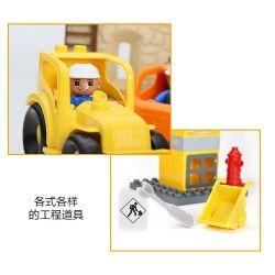 NOT Lego Duplo DUPLO 4988 Construction Site, HYSTOYS HONGYUANSHENG AOLEDUOTOYS  HG-1274 1274 HG1274 Xếp hình công trường xây dựng 84 khối