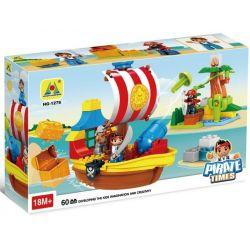 NOT LEGO Duplo 10514 Jake's Pirate Ship Bucky, GoRock 1018 Hystoys HongYuanSheng Aoleduotoys HG-1276 Xếp hình Tàu Cướp Biển Chở Kho Báu Của Jakes 60 khối