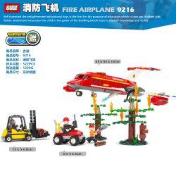 GUDI 9216 Xếp hình kiểu Lego FIRE RESCURE Fireman Fire Airplane Fire Team Fire Plane Máy Bay Cứu Hỏa 522 khối