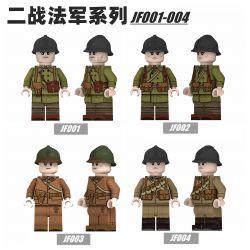WISE JF001 JF002 JF003 JF004 Xếp hình kiểu Lego COLLECTABLE MINIFIGURES Hanzi 4 World War II French Series Dòng Tiếng Pháp Thế Chiến II gồm 4 hộp nhỏ