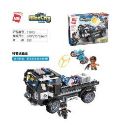 Enlighten 11013 Qman 11013 Xếp hình kiểu Lego MINECITY My City Special Police Transport Vehicle Xe Vận Chuyển Cảnh Sát đặc Biệt 352 khối