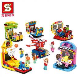 SHENG YUAN SY 5302A 5302B 5302C 5302D 5302E 5302F Xếp hình kiểu Lego JURASSIC WORLD Sports TV 6 Speed Speed, Dinosaur Shooting, Motorcycle Race, Space Shake Music, Dancing Machine, Shooting Machine TV