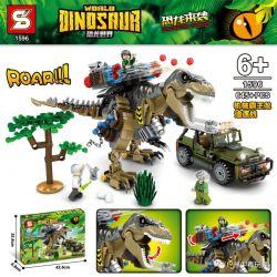 SHENG YUAN SY 1596 Xếp hình kiểu Lego JURASSIC WORLD Dinosaur World Mechanical Ba Wanglong Chasing Cơ Khí BA Wanglong đuổi Theo 645 khối