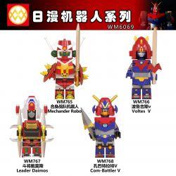 WM 6069 765 766 767 768 Xếp hình kiểu Lego COLLECTABLE MINIFIGURES Hanzi 4 Daily Robot Series Loạt Robot Hàng Ngày gồm 4 hộp nhỏ