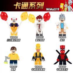 WM 484 485 486 487 488 489 6019 Xếp hình kiểu Lego COLLECTABLE MINIFIGURES House 6 Cartoon Series Phim Hoạt Hình Sê-ri gồm 6 hộp nhỏ