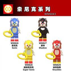 WM 6043 826 827 828 829 Xếp hình kiểu Lego COLLECTABLE MINIFIGURES Hanzi 4 Sonic Series Sonic Series. gồm 4 hộp nhỏ