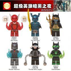 WM 6057 665 666 667 668 669 670 Xếp hình kiểu Lego COLLECTABLE MINIFIGURES House 6 Superhero Dark Night Siêu Anh Hùng Tối đêm gồm 6 hộp nhỏ