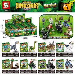 SHENG YUAN SY 1599 Xếp hình kiểu Lego JURASSIC WORLD Dinosaur World Dinosaur Chasing 8 Models Khủng Long Theo đuổi 8 Mô Hình 162 khối