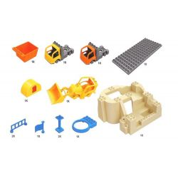 NOT LEGO Duplo 10518 My First Construction Site, Hystoys HongYuanSheng Aoleduotoys GM-5002 HG-1334 Xếp hình Công Trường Xây Dựng Lớn 59 khối