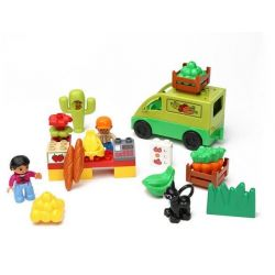 NOT LEGO Duplo 5683 Market Place, Hystoys HongYuanSheng Aoleduotoys HG-1354 Xếp hình chợ phiên nhộn nhịp 25 khối