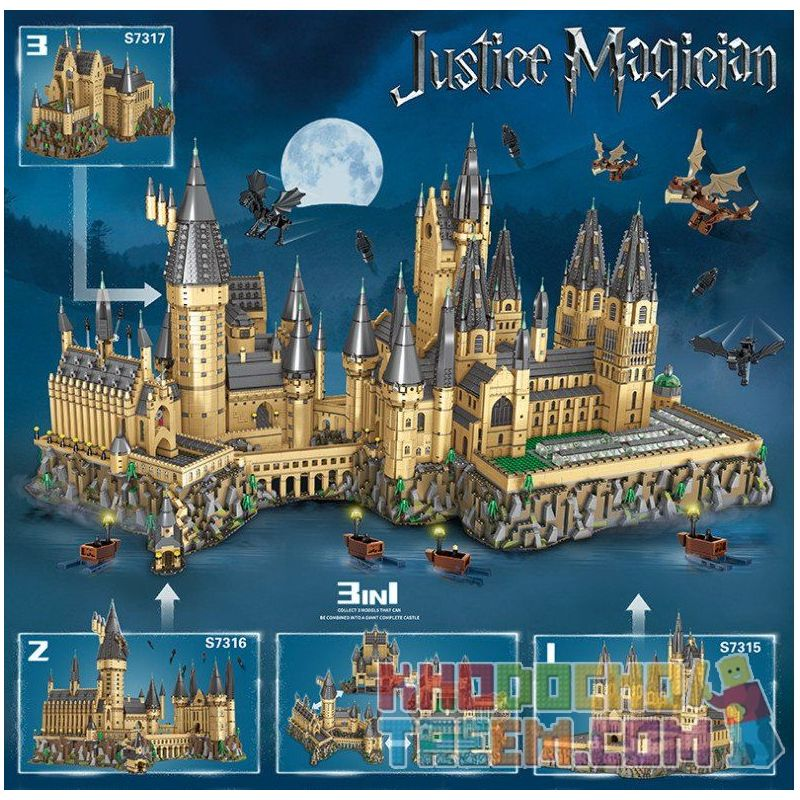 BLANK S7315 7315 S7316 7316 S7317 7317 REBRICKABLE MOC-30884 30884 MOC30884 Xếp hình kiểu Lego HARRY POTTER Hogwart's Castle (71043) Epic Extension Full Version Of Hogworth Castle Central Courtyard, G