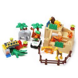 NOT LEGO Duplo 5634 Feeding Zoo, Hystoys HongYuanSheng Aoleduotoys HG-1393 Xếp hình cho thú ăn trong vườn bách thú 53 khối