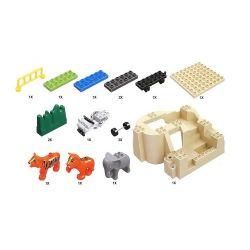 NOT Lego Duplo DUPLO 5634 Feeding Zoo, HYSTOYS HONGYUANSHENG AOLEDUOTOYS  HG-1393 1393 HG1393 Xếp hình cho thú ăn trong vườn bách thú 53 khối