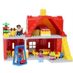 NOT Lego Duplo DUPLO 5639 Family House, HYSTOYS HONGYUANSHENG AOLEDUOTOYS  HG-1422 1422 HG1422 Xếp hình Ngôi Nhà Màu đỏ 71 khối