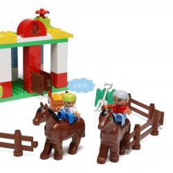 NOT Lego Duplo DUPLO 5648 Horse Stables, HYSTOYS HONGYUANSHENG AOLEDUOTOYS  HG-1430 1430 HG1430 Xếp hình trang trại ngựa lớn 58 khối