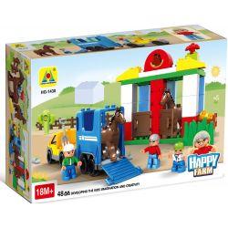 NOT LEGO Duplo 5648 Horse Stables, Hystoys HongYuanSheng Aoleduotoys HG-1430 Xếp hình trang trại ngựa lớn 58 khối
