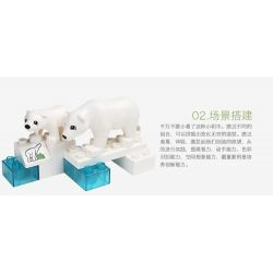 HYSTOYS HONGYUANSHENG AOLEDUOTOYS  HG-1457 1457 HG1457 Xếp hình kiểu Lego Duplo DUPLO Polar Zoo Vườn Thú Bắc Cực Nhỏ 27 khối