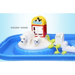 Hystoys HongYuanSheng Aoleduotoys HG-1475 Xếp hình kiểu LEGO Duplo Polar Zoo Vườn Thú Bắc Cực Lớn Có Bàn 40 khối