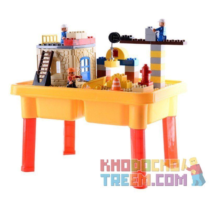 Hystoys HongYuanSheng Aoleduotoys HG-1481 Xếp hình kiểu LEGO Duplo Construction Site công trường xây dựng có bàn hộp 56 khối