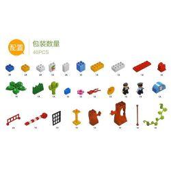Hystoys HongYuanSheng Aoleduotoys HG-1485 Xếp hình kiểu LEGO Duplo Police Station trại giam của cảnh sát có bàn hộp 45 khối