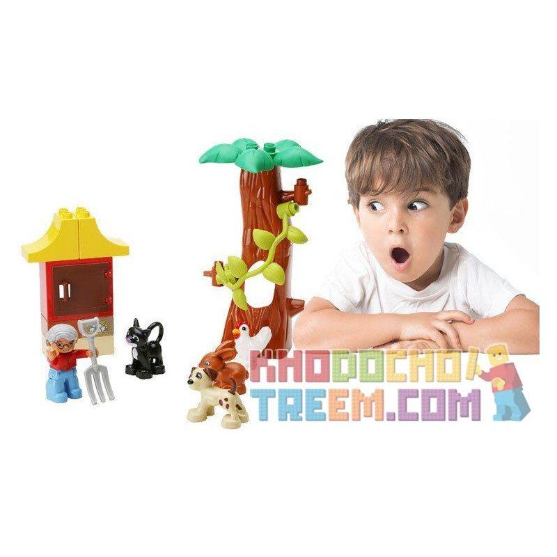Hystoys Hongyuansheng Aoleduotoys HG-1502 (NOT Lego Duplo 5646 Farm Nursery ) Xếp hình Chăm Nom Vật Nuôi Trang Trại 17 khối