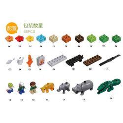 NOT LEGO Duplo 6156 Photo Safari, Hystoys HongYuanSheng Aoleduotoys HG-1609 Xếp hình khu bảo tồn động vật hoang dã 68 khối