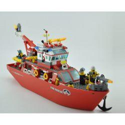 Enlighten 909 Qman 909 Xếp hình kiểu Lego CITY Fire Rescue Multi-Function Fire Ship Multi-function Fire Boat Tàu Cứu Hỏa Lớn Trên Biển 359 khối