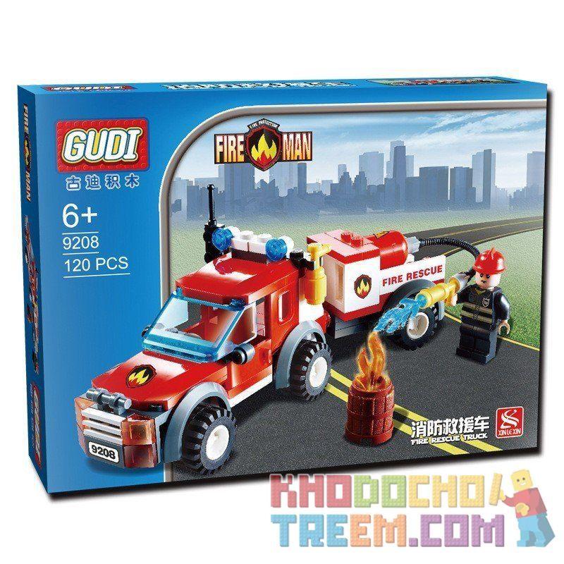 Xinlexin Gudi 9208 (NOT Lego City Off Road Fire Rescue ) Xếp hình Xe Bán Tải Cứu Hỏa 122 khối