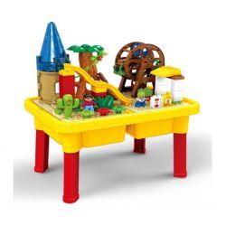 NOT Lego Duplo EDUCATION 45001 6023997 Playground, HYSTOYS HONGYUANSHENG AOLEDUOTOYS  HG-1490 1490 HG1490 Xếp hình khu vui chơi thiên đường có bàn hộp gồm 2 hộp nhỏ 54 khối