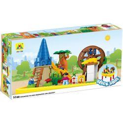 HYSTOYS HONGYUANSHENG AOLEDUOTOYS HG-1490 1490 HG1490 Xếp hình kiểu Lego Duplo EDUCATION Playground Khu Vui Chơi Thiên đường Có Bàn Hộp gồm 2 hộp nhỏ 54 khối
