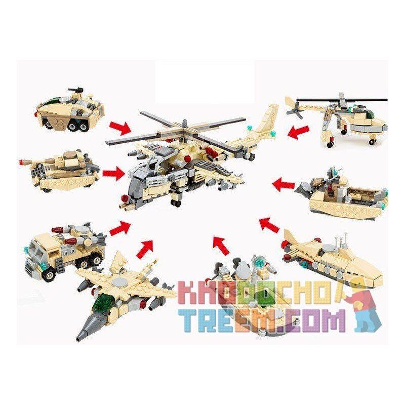 GUDI 8007-8 Xếp hình kiểu Lego MILITARY ARMY Military Helicopter 8 In 1 Trực Thăng Quân Sự Từ 8 Thiết Bị Biến Hình 679 khối