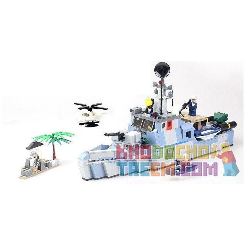 GUDI 8023 Xếp hình kiểu Lego MILITARY ARMY Offshore Picket Ship Navy Team Offshore Warning Ship Tàu Tuần Tra Biển 520 khối