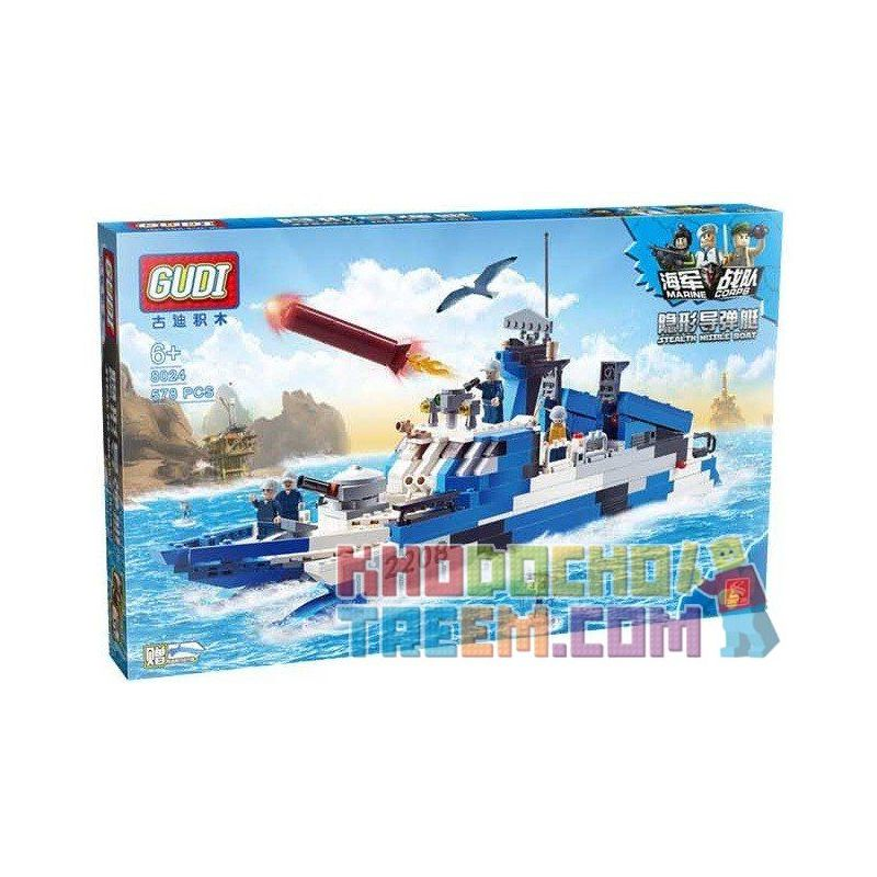 Xinlexin Gudi 8024 (NOT Lego Military Army Stealth Missile Boat ) Xếp hình Tàu Tên Lửa Cao Tốc Tàng Hình 578 khối
